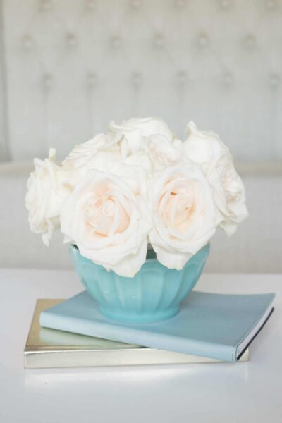 aqua vase with roses on top of journals