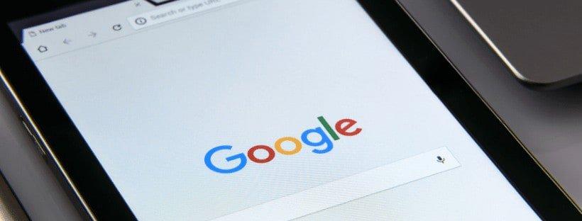 google on tablet screen