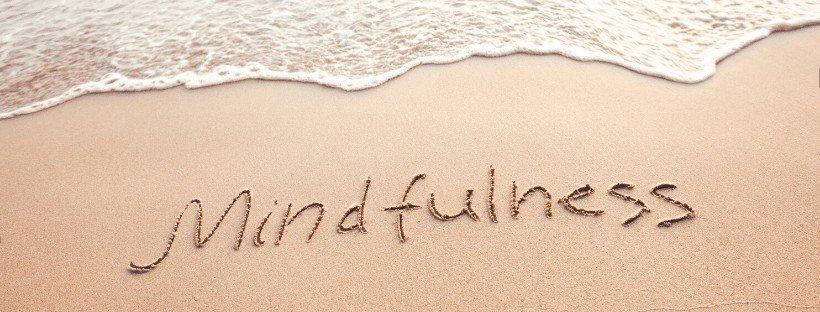 mindfullness written in sand
