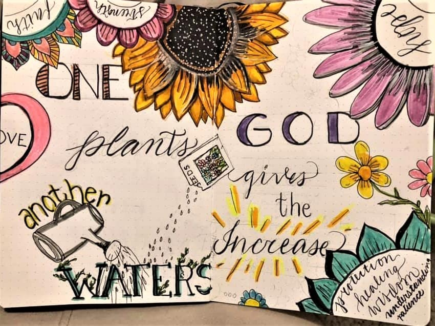 flowers with bible verse in dot grid journal