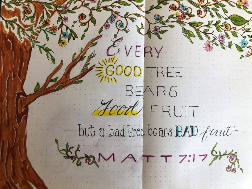 tree and matt 7 Bible verse on dot grid journal pages