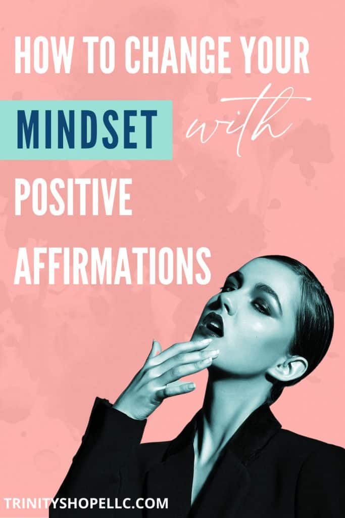 woman thinking and speaking positive affirmations to change her mindset